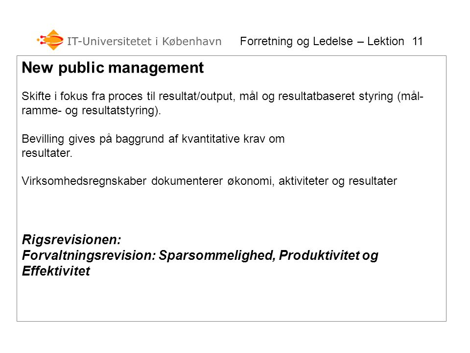 New public management Rigsrevisionen: