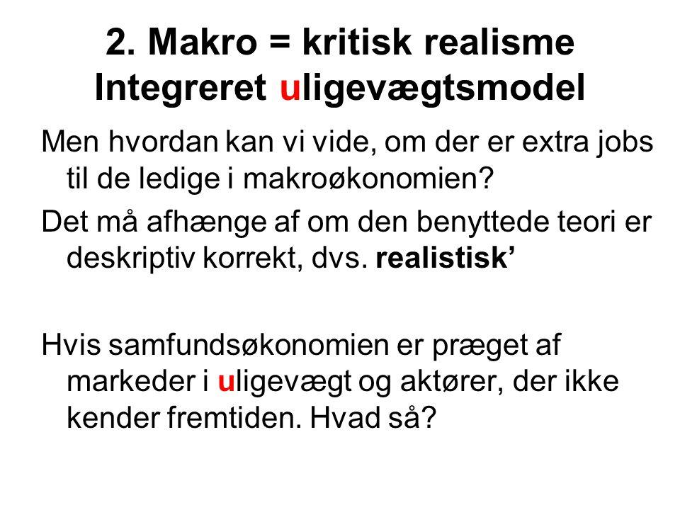 2. Makro = kritisk realisme Integreret uligevægtsmodel