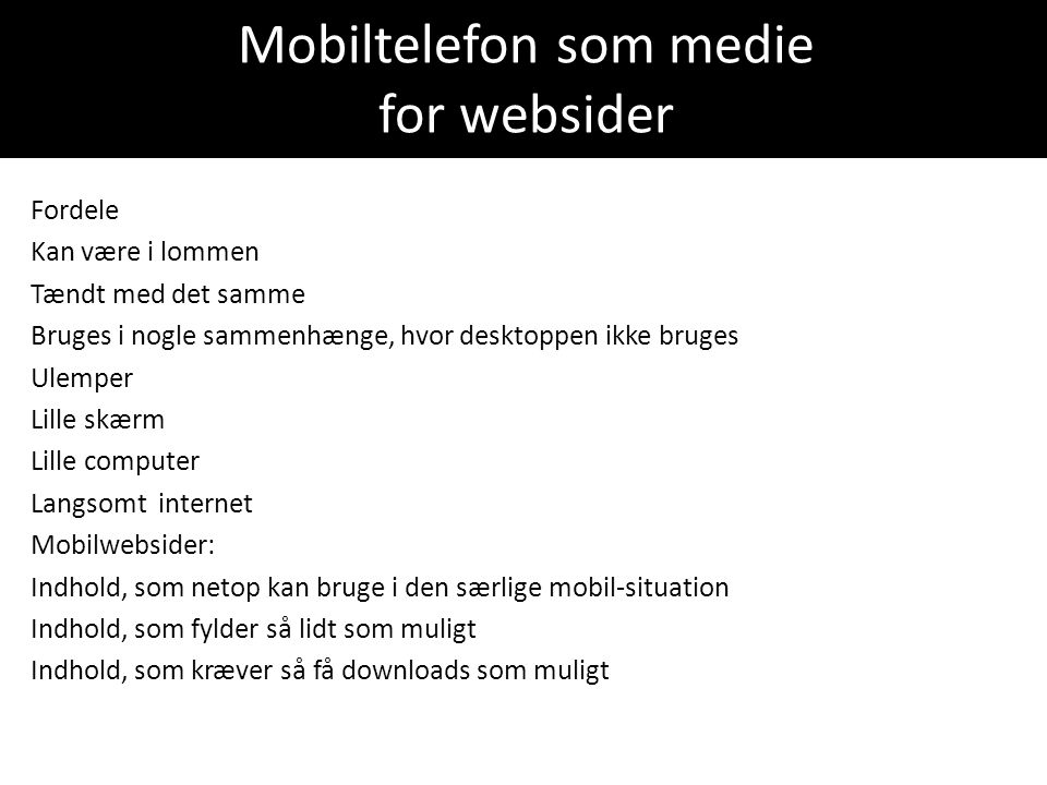Mobiltelefon som medie for websider