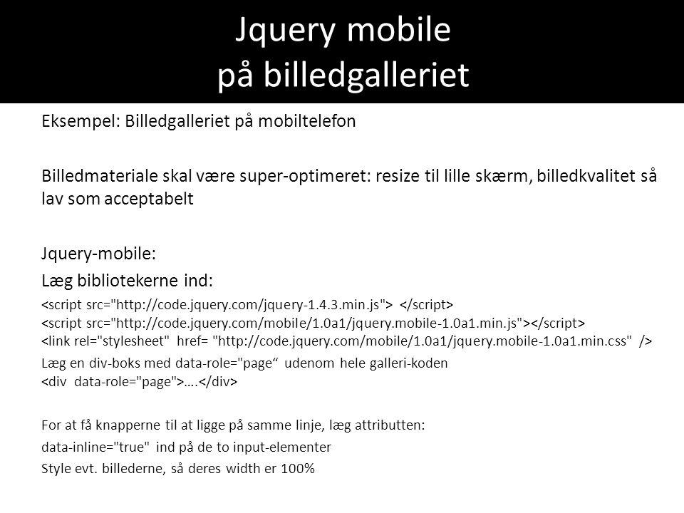 Jquery mobile på billedgalleriet