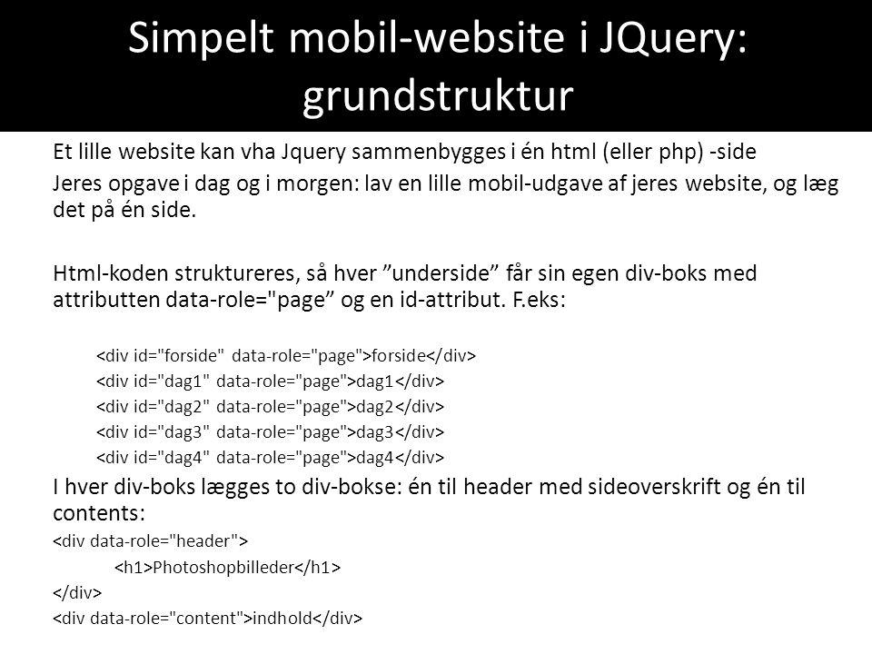 Simpelt mobil-website i JQuery: grundstruktur