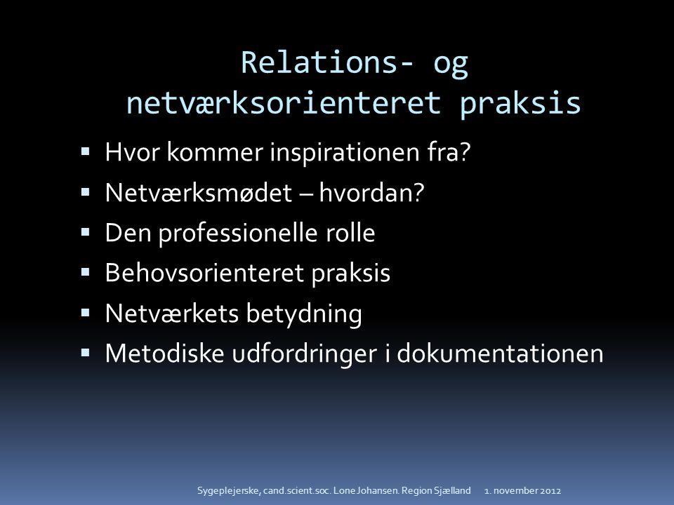 Relations- og netværksorienteret praksis