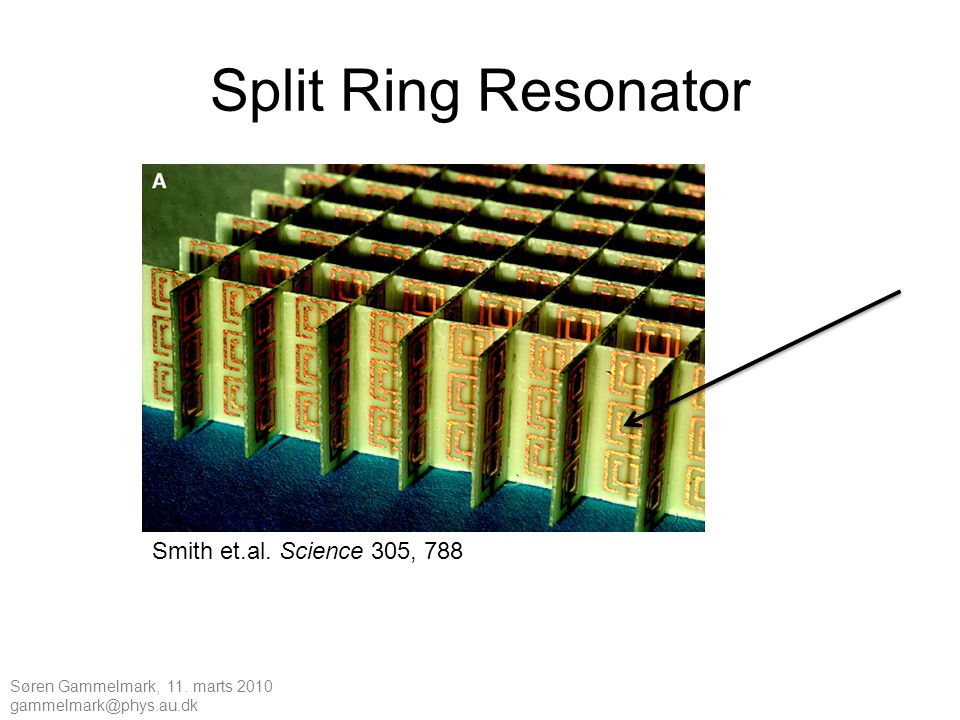 Split Ring Resonator Smith et.al. Science 305, 788