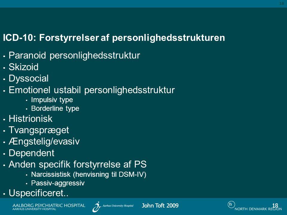 ICD-10: Forstyrrelser af personlighedsstrukturen