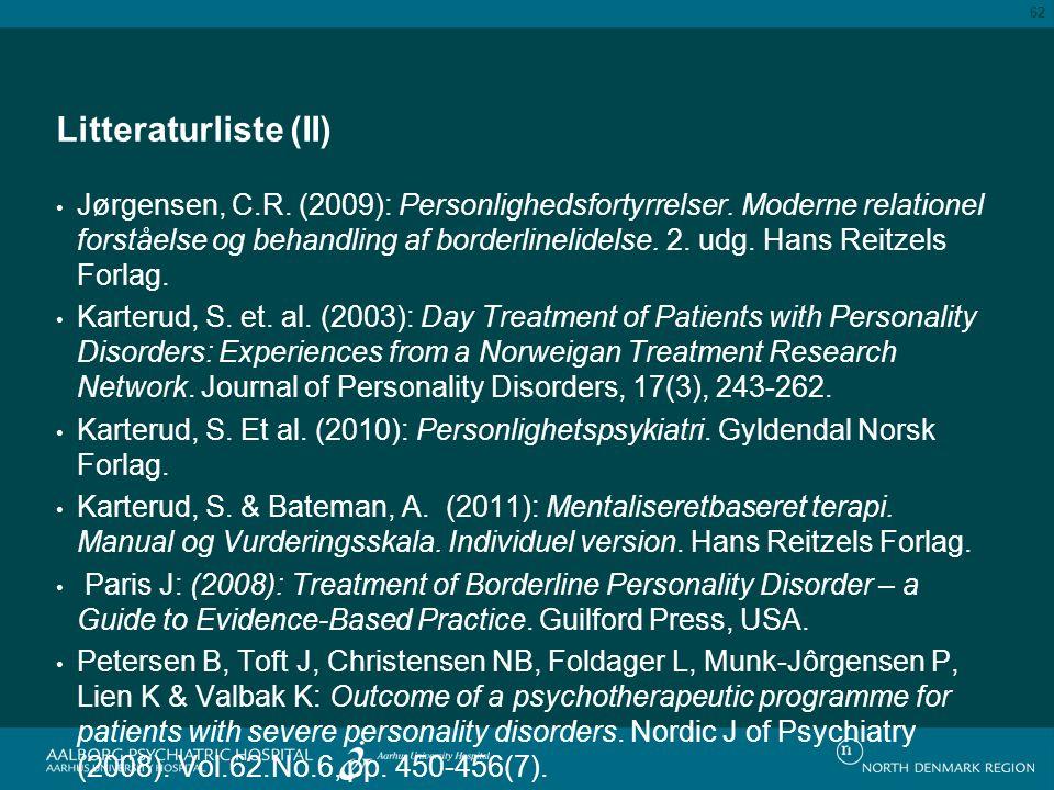 Litteraturliste (II)