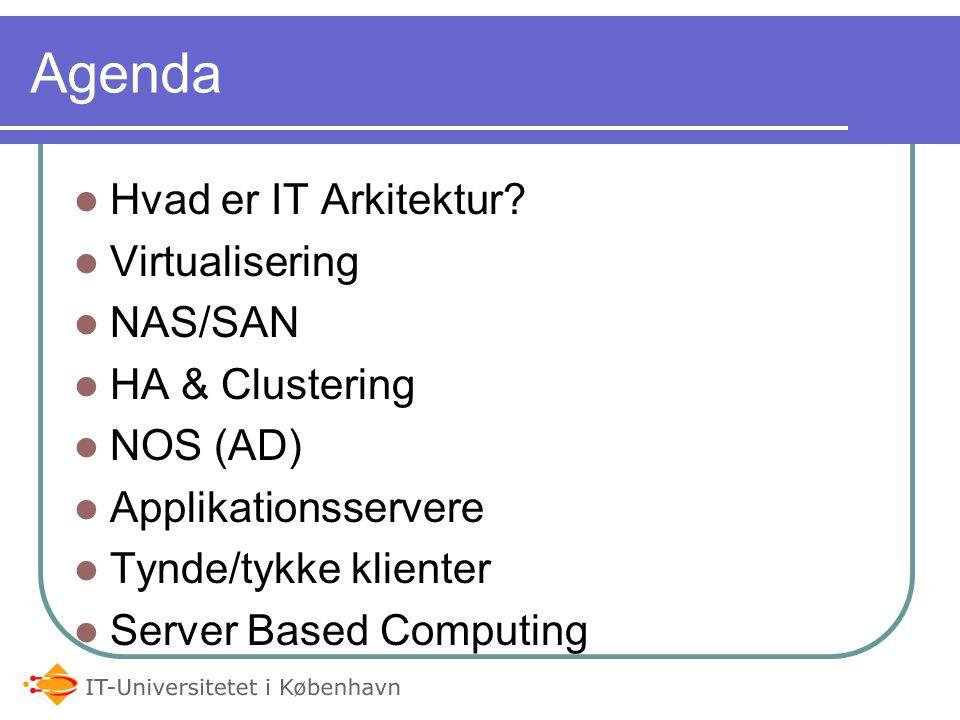 Agenda Hvad er IT Arkitektur Virtualisering NAS/SAN HA & Clustering