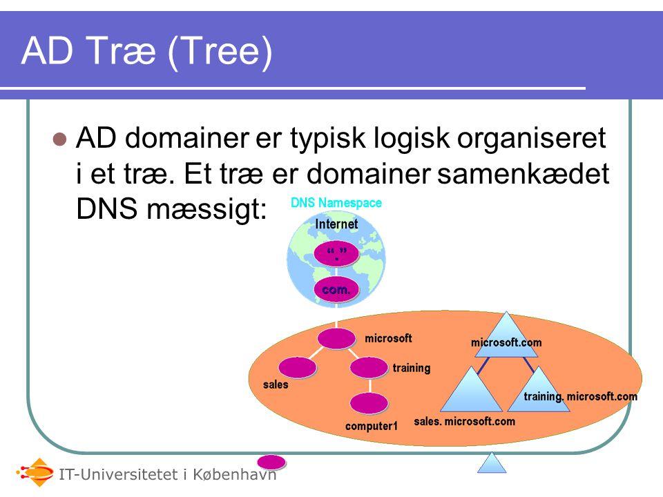 05-04-2017 AD Træ (Tree) AD domainer er typisk logisk organiseret i et træ.