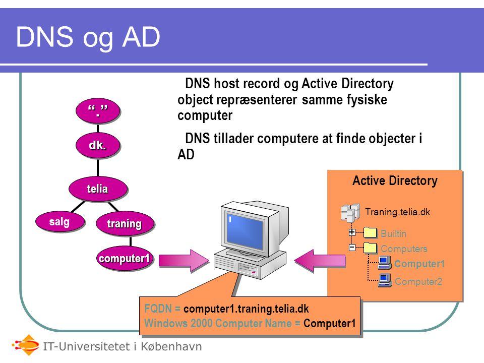 05-04-2017 DNS og AD. DNS host record og Active Directory object repræsenterer samme fysiske computer.