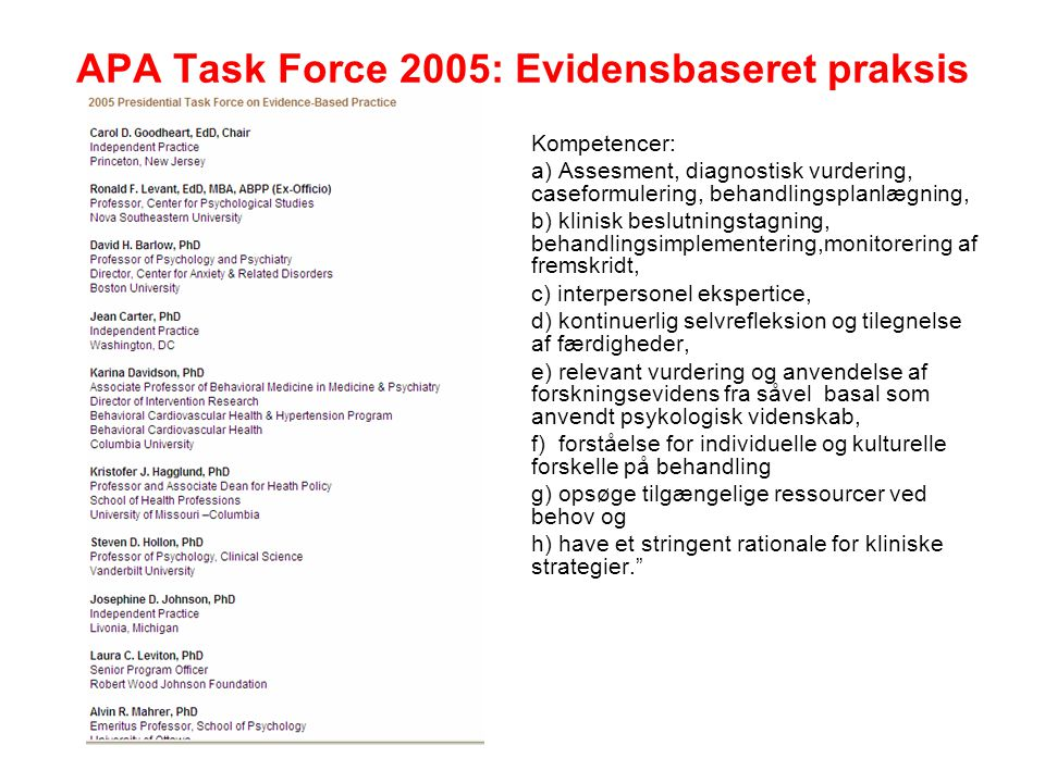 APA Task Force 2005: Evidensbaseret praksis
