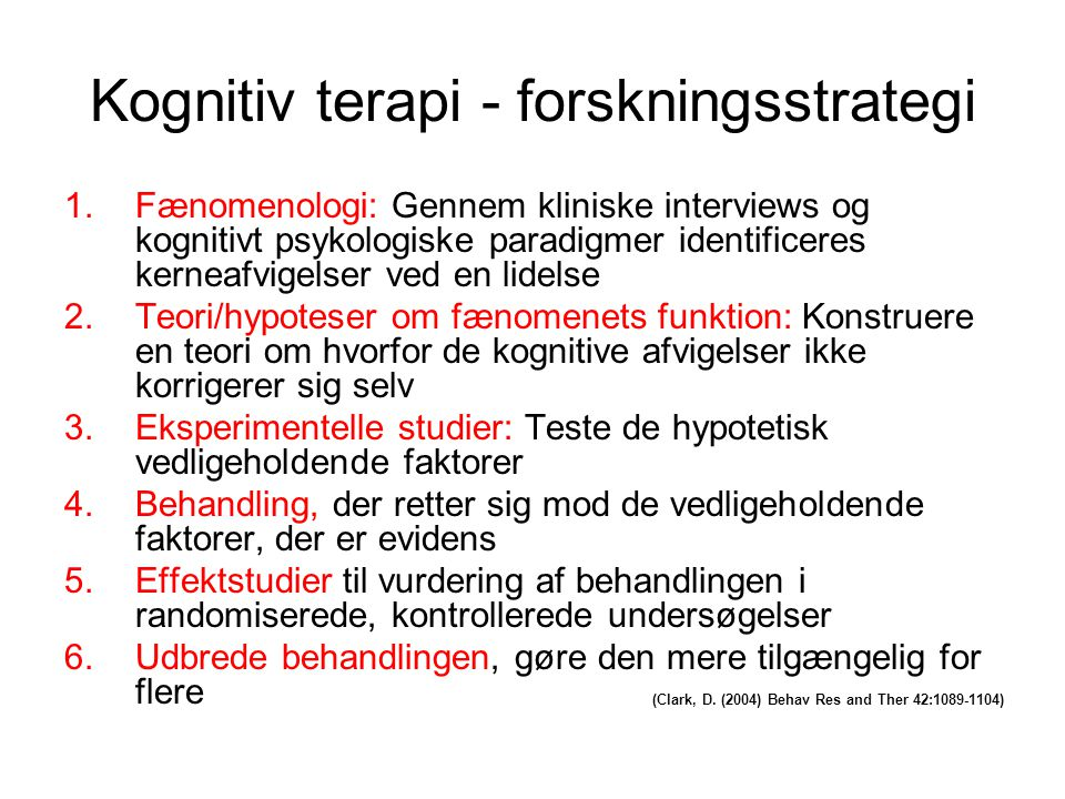 Kognitiv terapi - forskningsstrategi