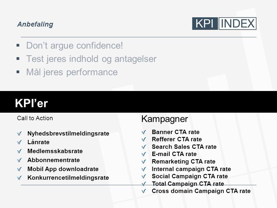 KPI'er Don't argue confidence! Test jeres indhold og antagelser