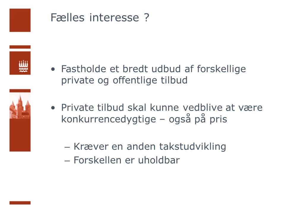 Fælles interesse Fastholde et bredt udbud af forskellige private og offentlige tilbud.