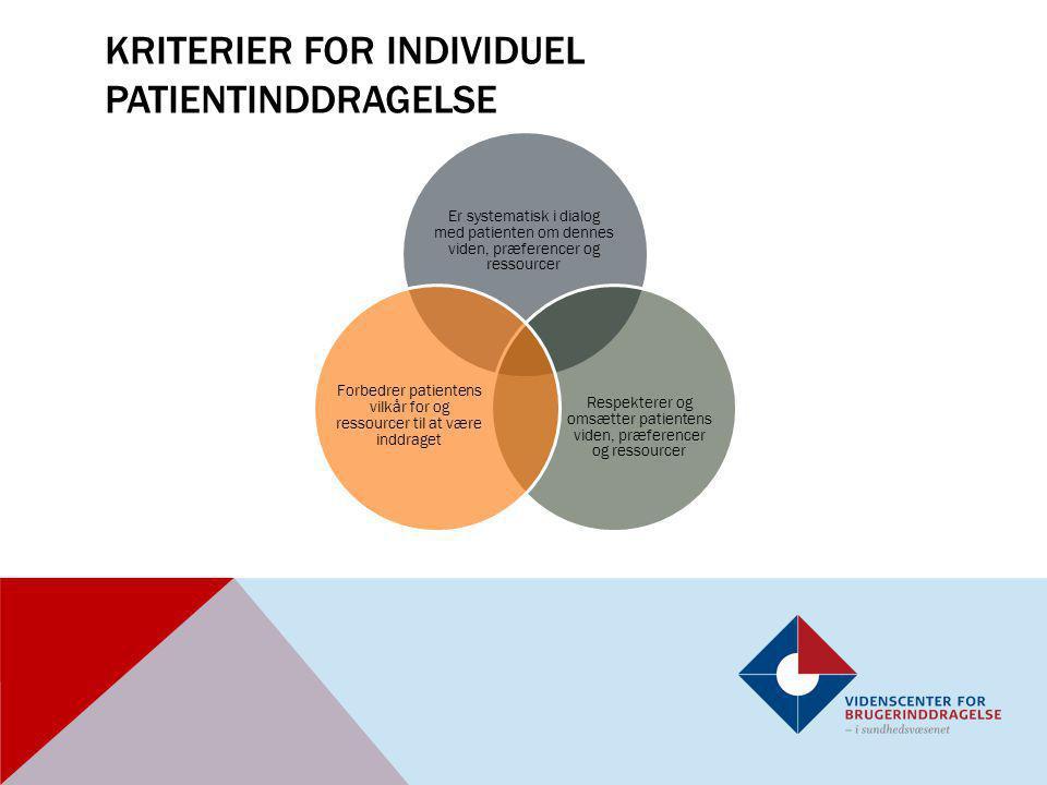 Kriterier for individuel patientinddragelse
