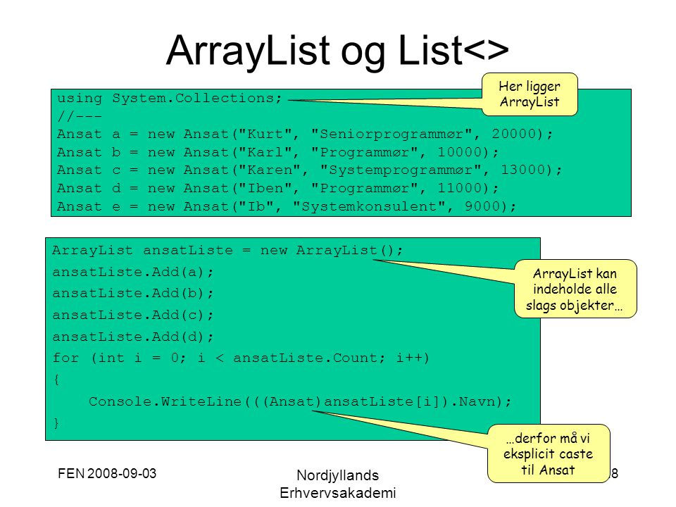 ArrayList og List<>