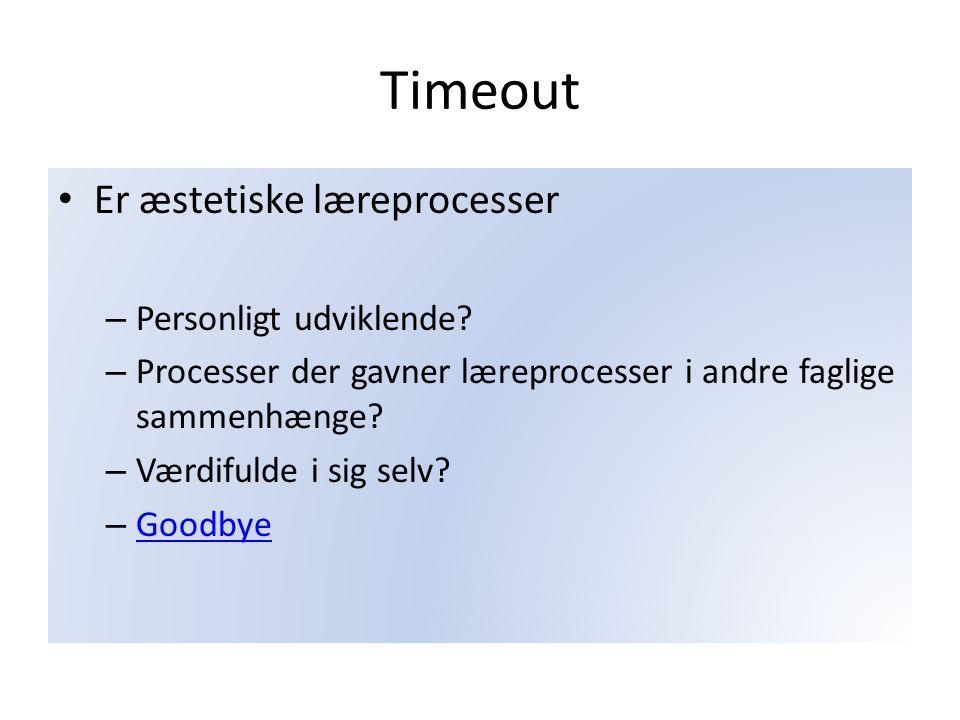 Timeout Er æstetiske læreprocesser Personligt udviklende