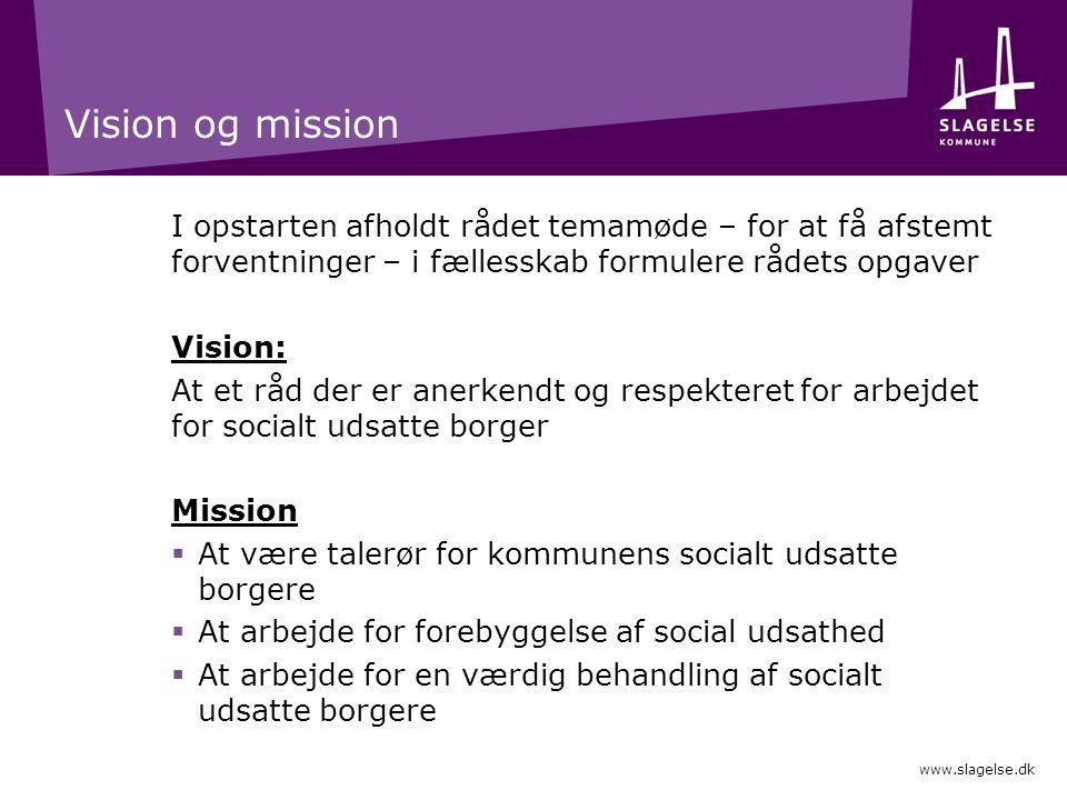 Vision og mission I opstarten afholdt rådet temamøde – for at få afstemt forventninger – i fællesskab formulere rådets opgaver.