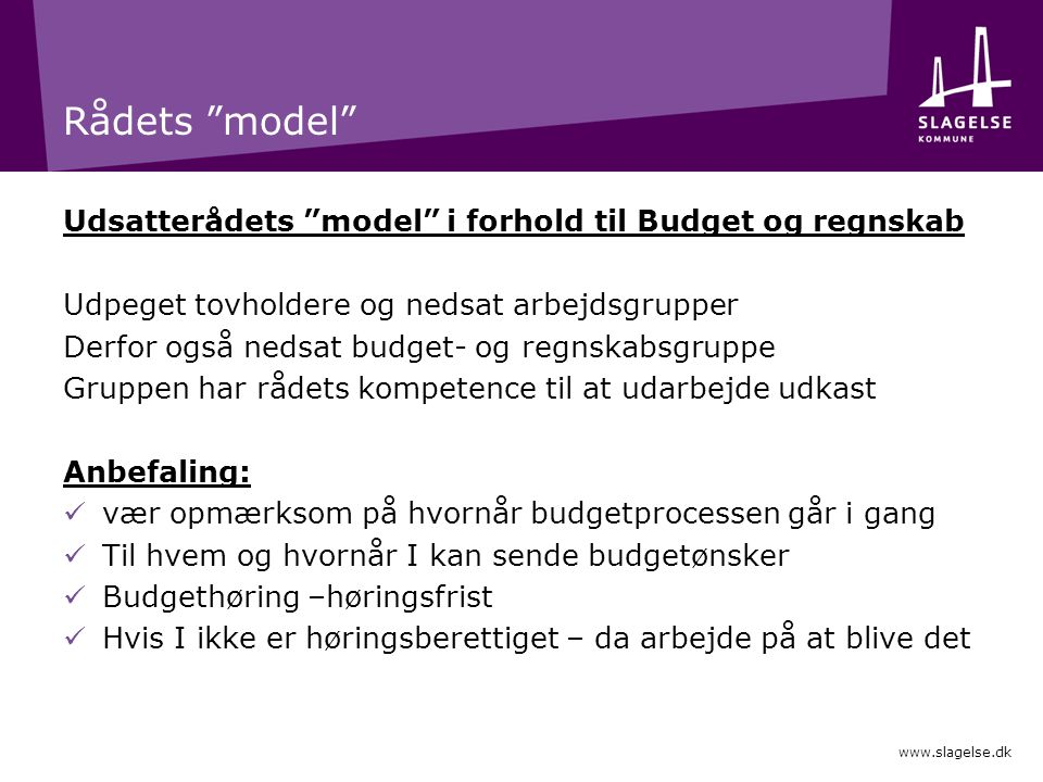 Rådets model Udsatterådets model i forhold til Budget og regnskab