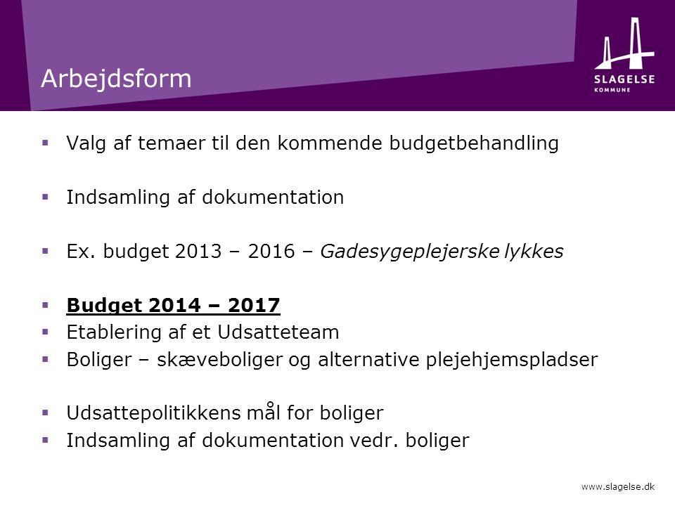 Arbejdsform Valg af temaer til den kommende budgetbehandling
