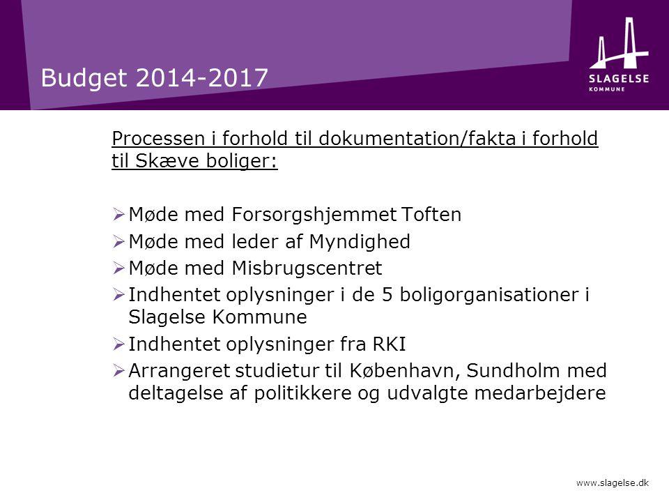Budget 2014-2017 Processen i forhold til dokumentation/fakta i forhold til Skæve boliger: Møde med Forsorgshjemmet Toften.