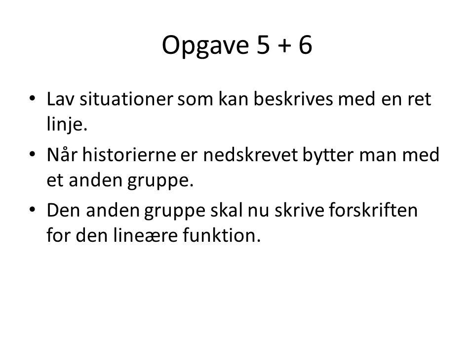 Opgave 5 + 6 Lav situationer som kan beskrives med en ret linje.