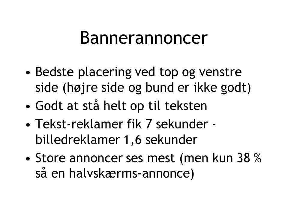 Bannerannoncer Bedste placering ved top og venstre side (højre side og bund er ikke godt) Godt at stå helt op til teksten.