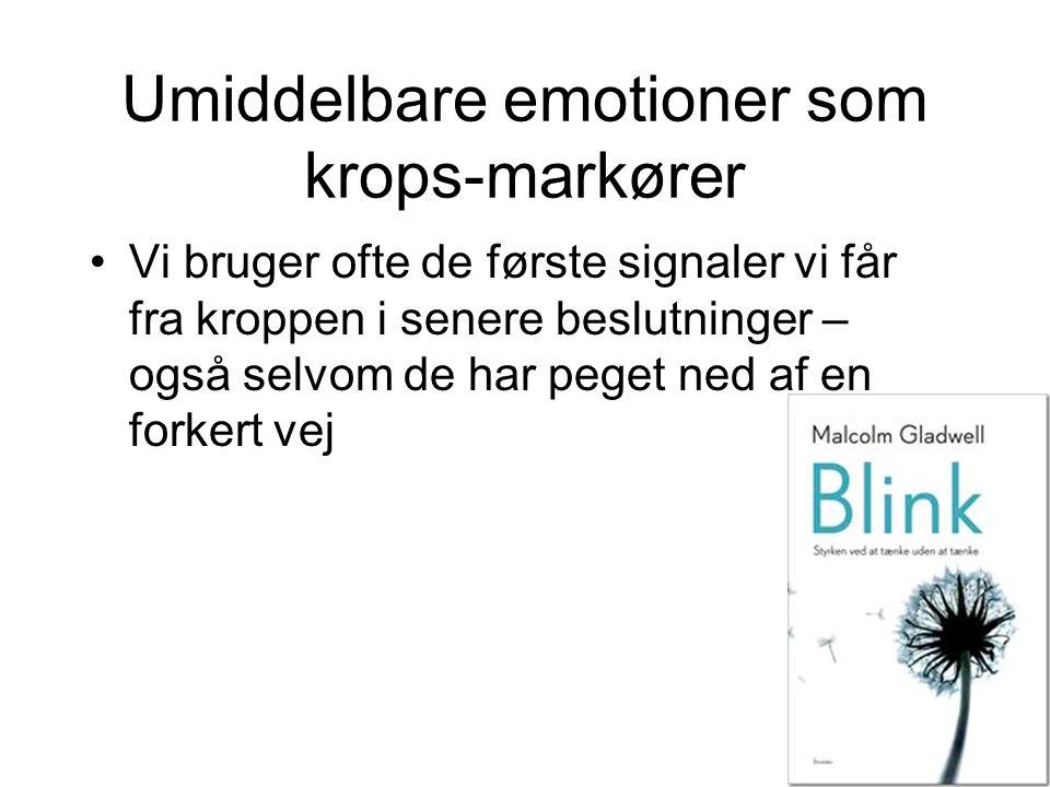 Umiddelbare emotioner som krops-markører