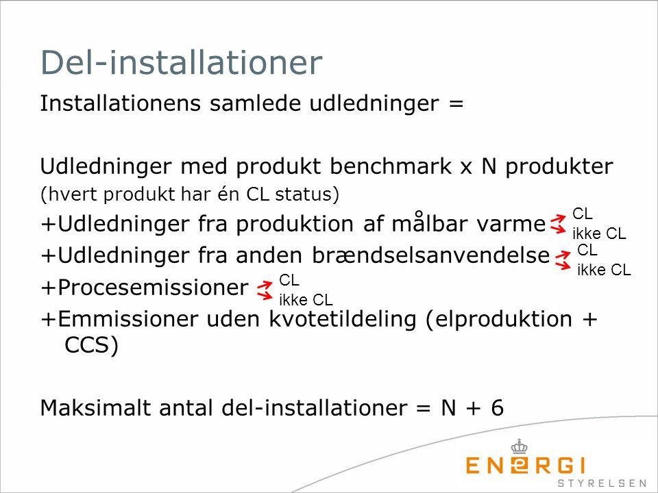 Del-installationer Installationens samlede udledninger =