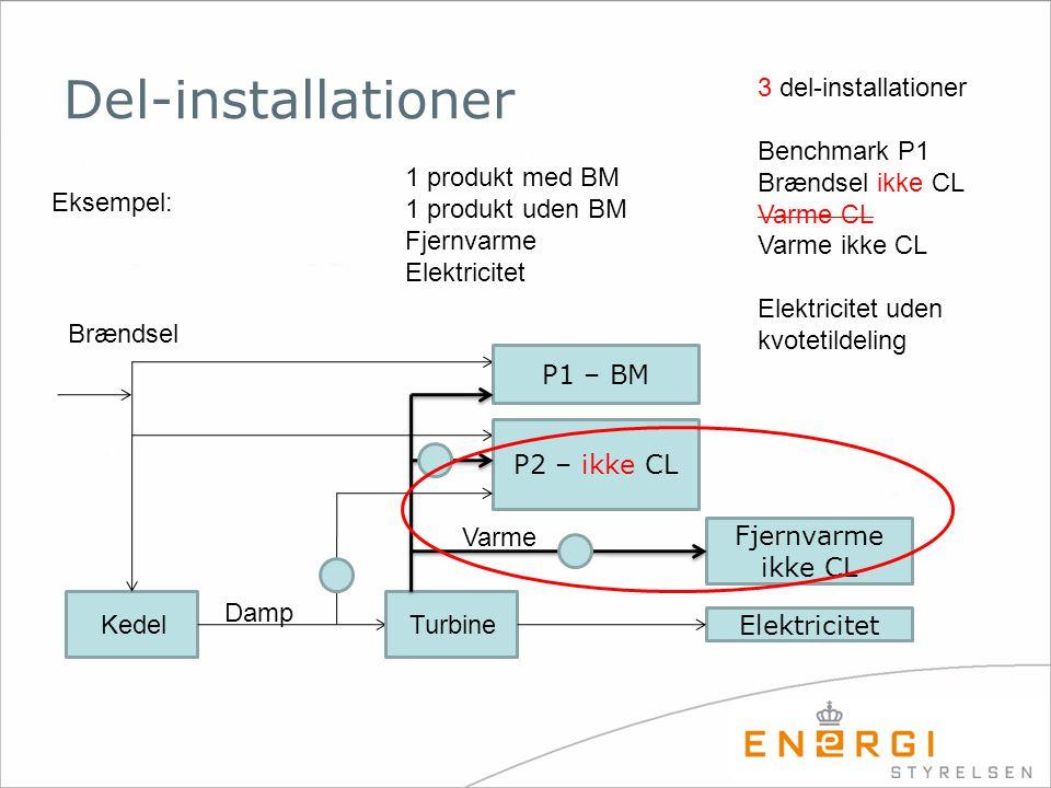 Del-installationer 3 del-installationer Benchmark P1 Brændsel ikke CL