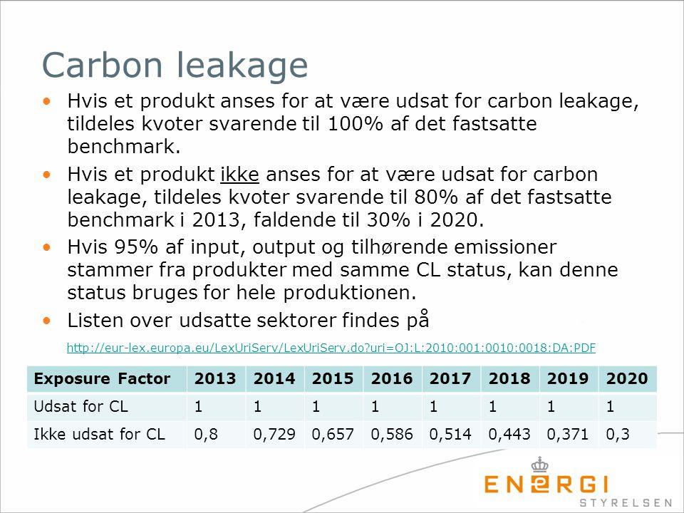Carbon leakage Hvis et produkt anses for at være udsat for carbon leakage, tildeles kvoter svarende til 100% af det fastsatte benchmark.