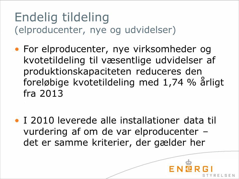 Endelig tildeling (elproducenter, nye og udvidelser)