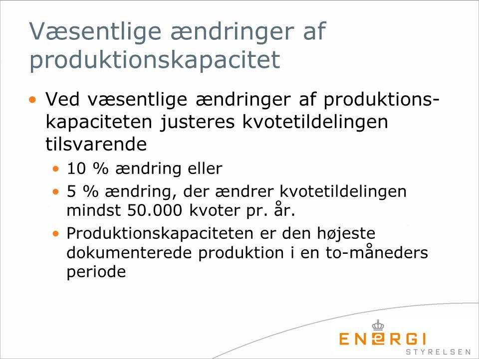 Væsentlige ændringer af produktionskapacitet