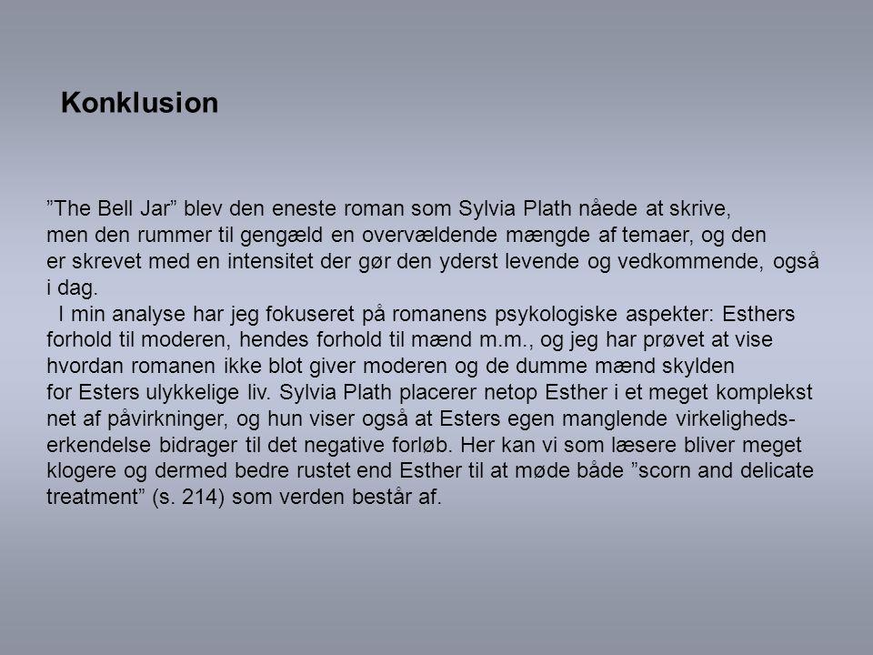 Konklusion The Bell Jar blev den eneste roman som Sylvia Plath nåede at skrive,