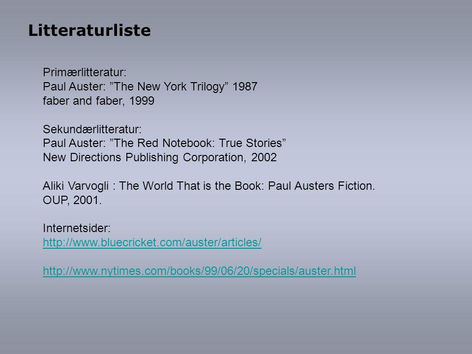 Litteraturliste Primærlitteratur: