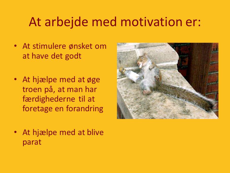 At arbejde med motivation er: