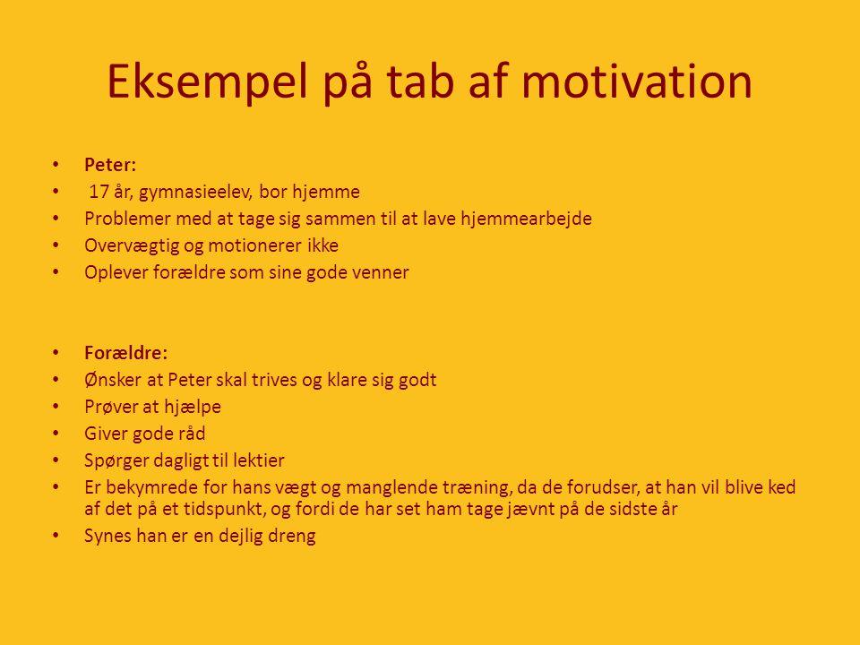Eksempel på tab af motivation