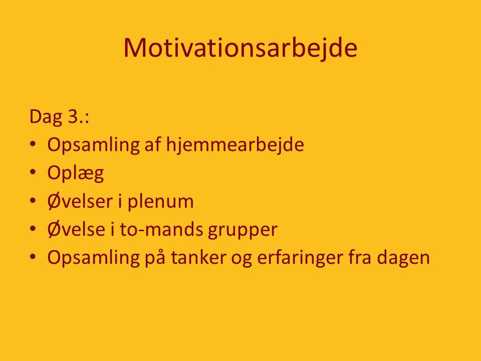 Motivationsarbejde Dag 3.: Opsamling af hjemmearbejde Oplæg