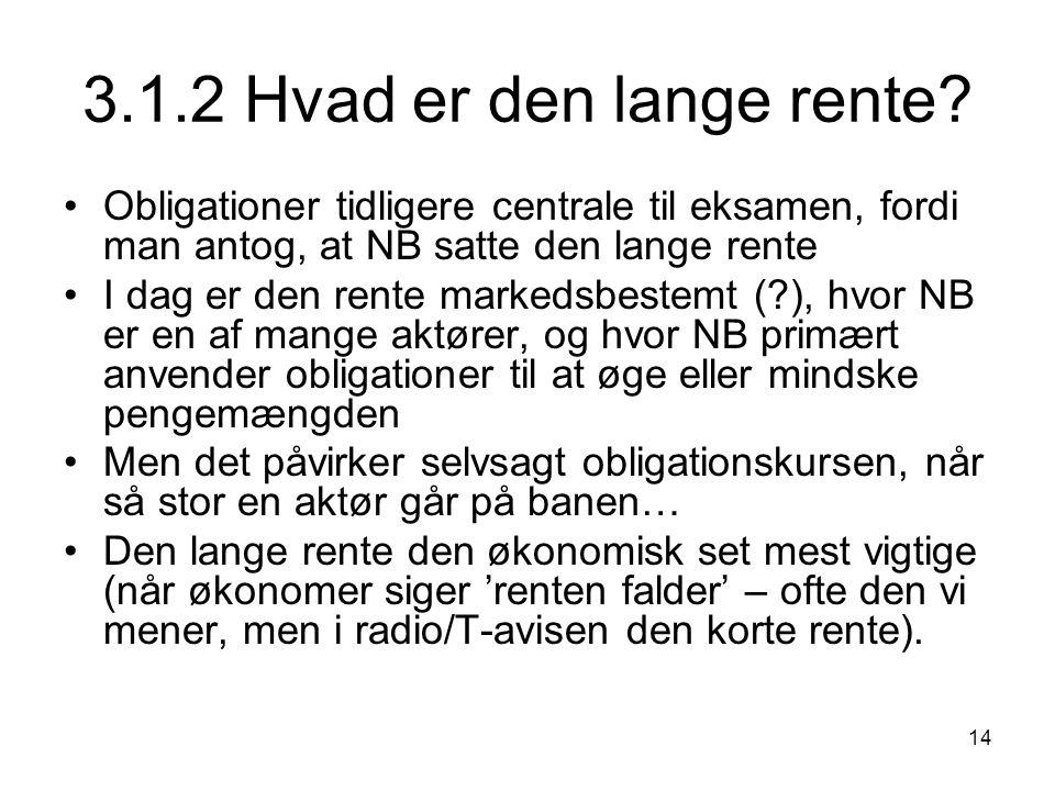 3.1.2 Hvad er den lange rente Obligationer tidligere centrale til eksamen, fordi man antog, at NB satte den lange rente.