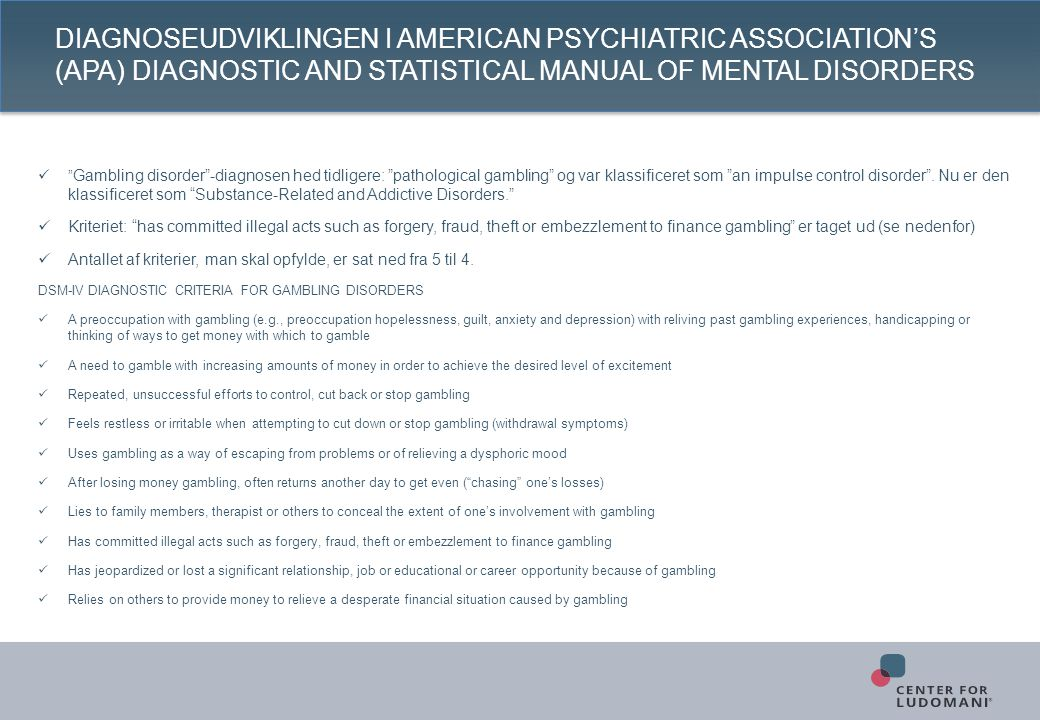Diagnoseudviklingen i American Psychiatric Association's (APA) Diagnostic and Statistical Manual of Mental Disorders