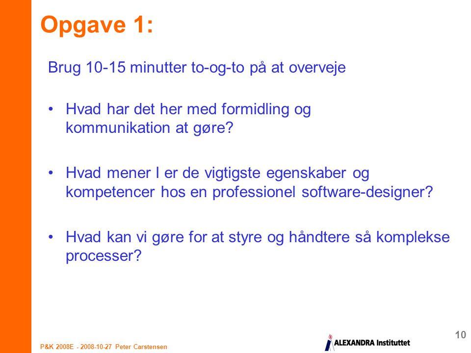 Opgave 1: Brug 10-15 minutter to-og-to på at overveje