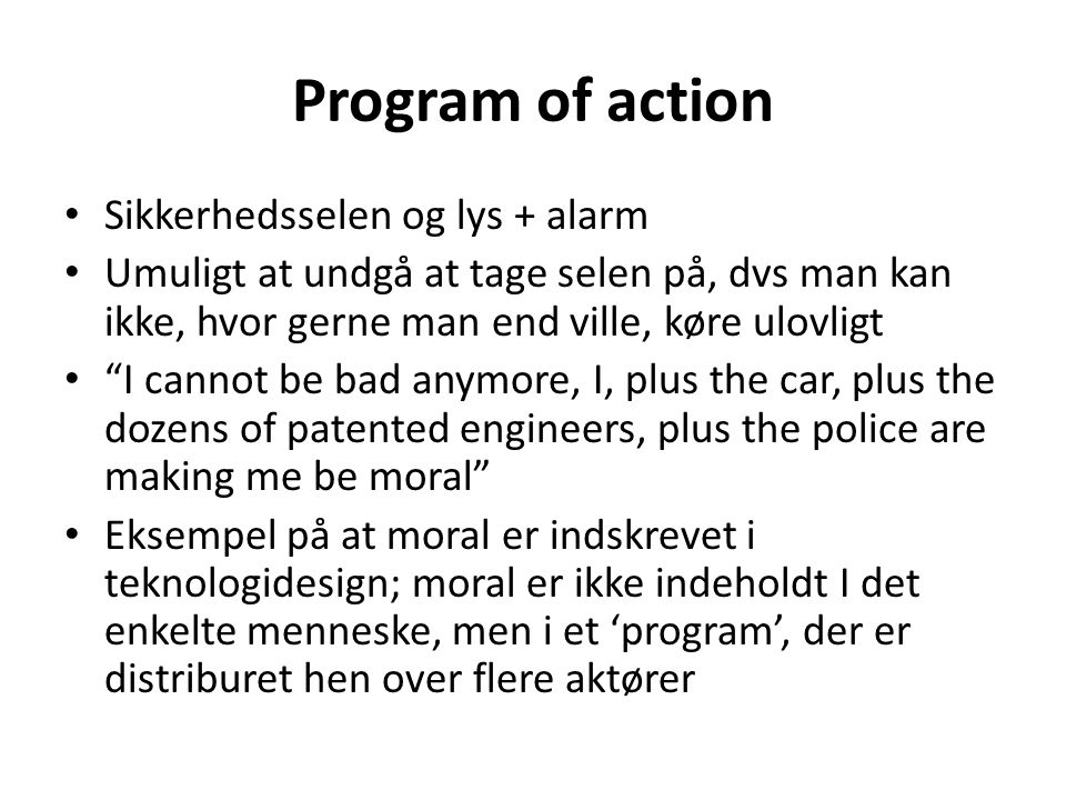 Program of action Sikkerhedsselen og lys + alarm