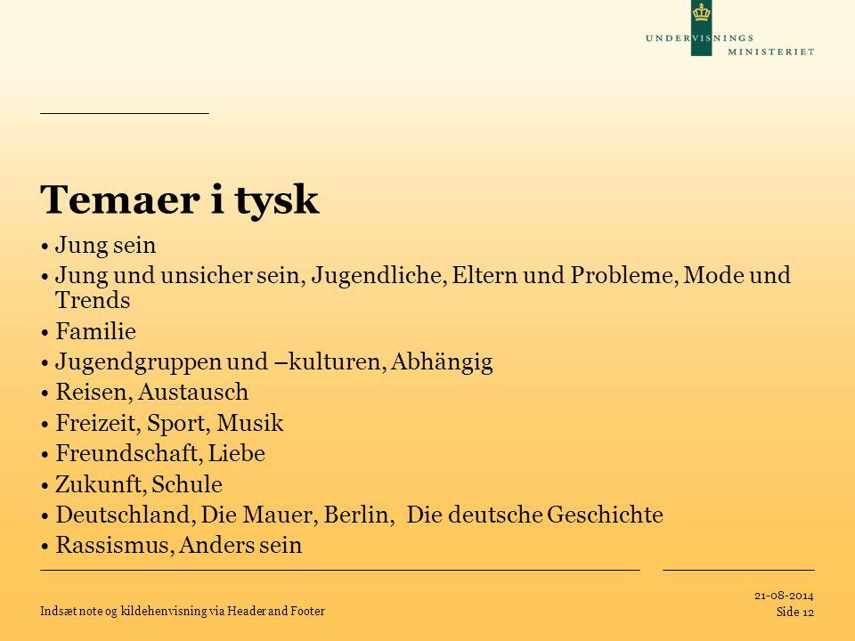Temaer i tysk Jung sein. Jung und unsicher sein, Jugendliche, Eltern und Probleme, Mode und Trends.