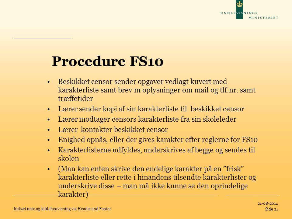 Procedure FS10 Beskikket censor sender opgaver vedlagt kuvert med karakterliste samt brev m oplysninger om mail og tlf.nr. samt træffetider.