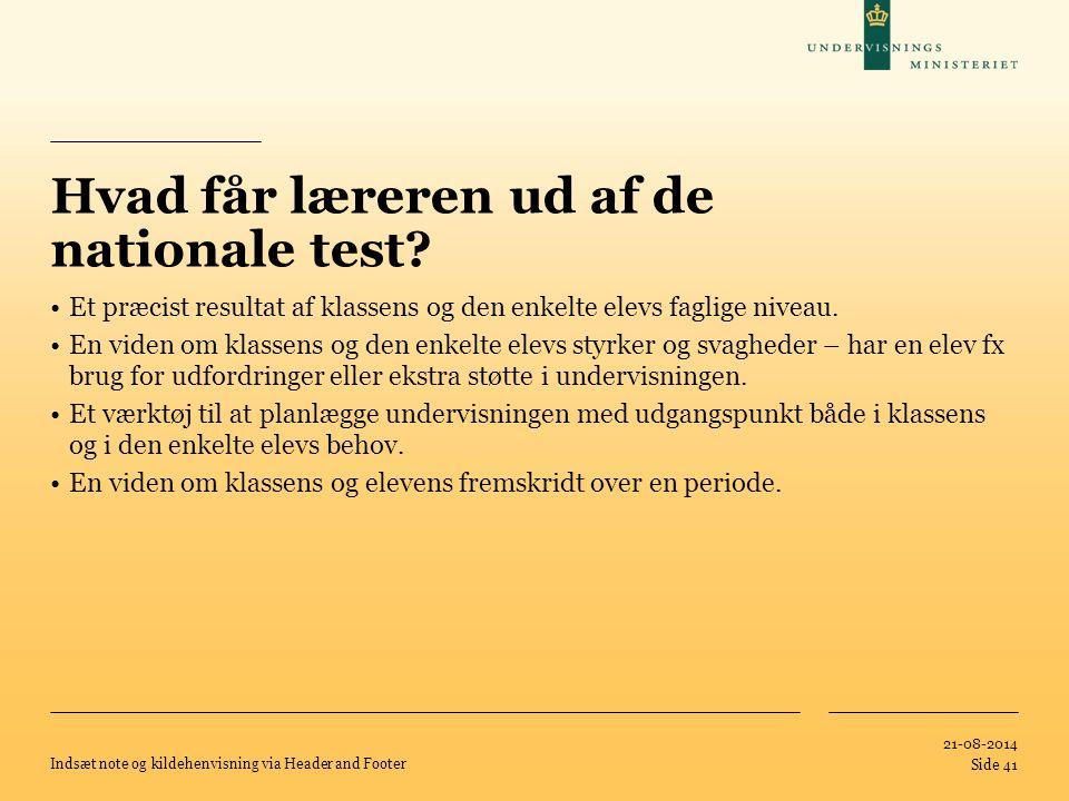 Hvad får læreren ud af de nationale test