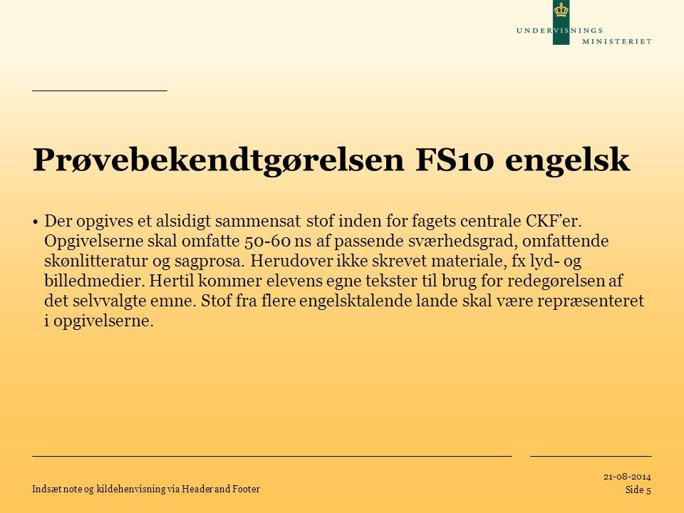 Prøvebekendtgørelsen FS10 engelsk