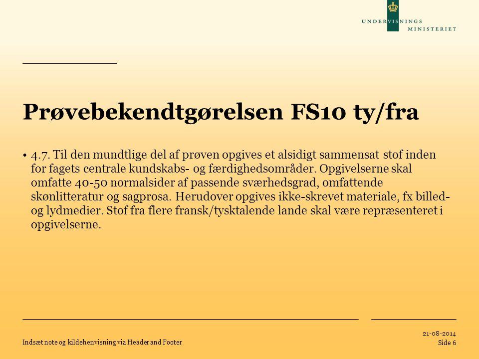 Prøvebekendtgørelsen FS10 ty/fra