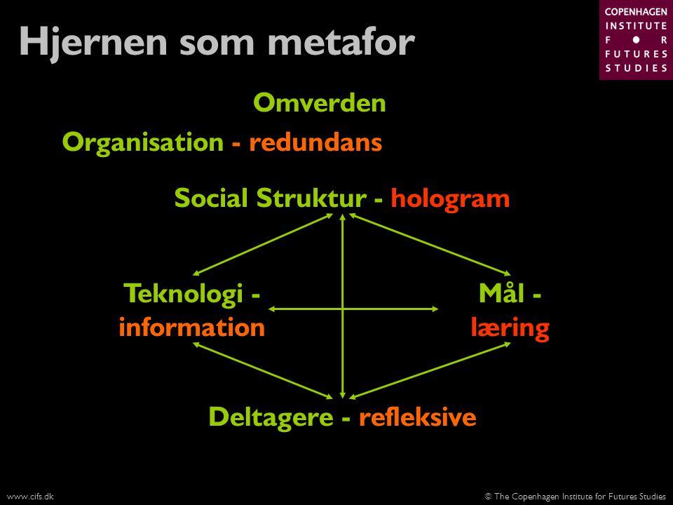 Hjernen som metafor Omverden Organisation - redundans