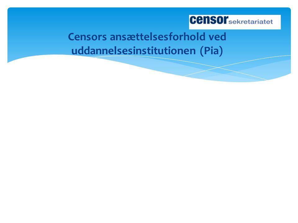Censors ansættelsesforhold ved uddannelsesinstitutionen (Pia)