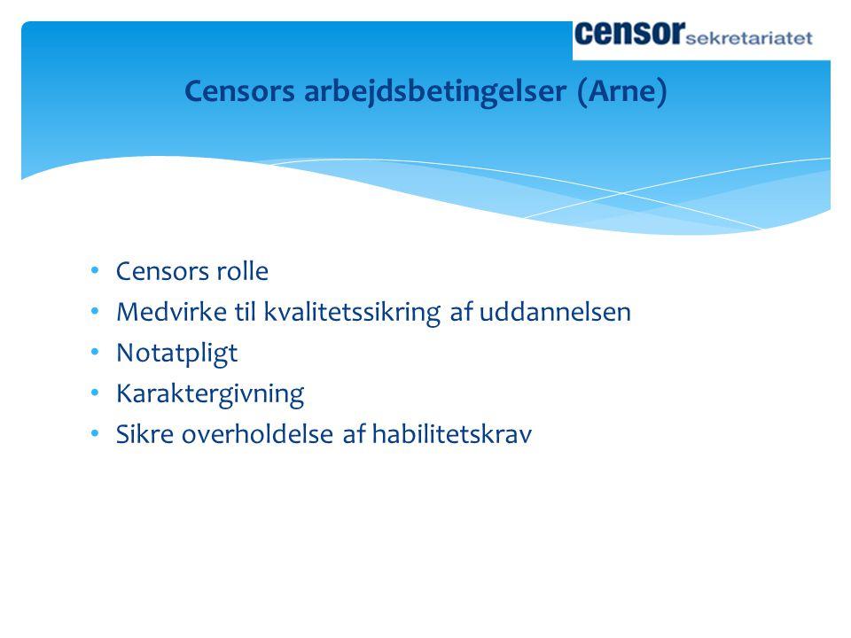 Censors arbejdsbetingelser (Arne)