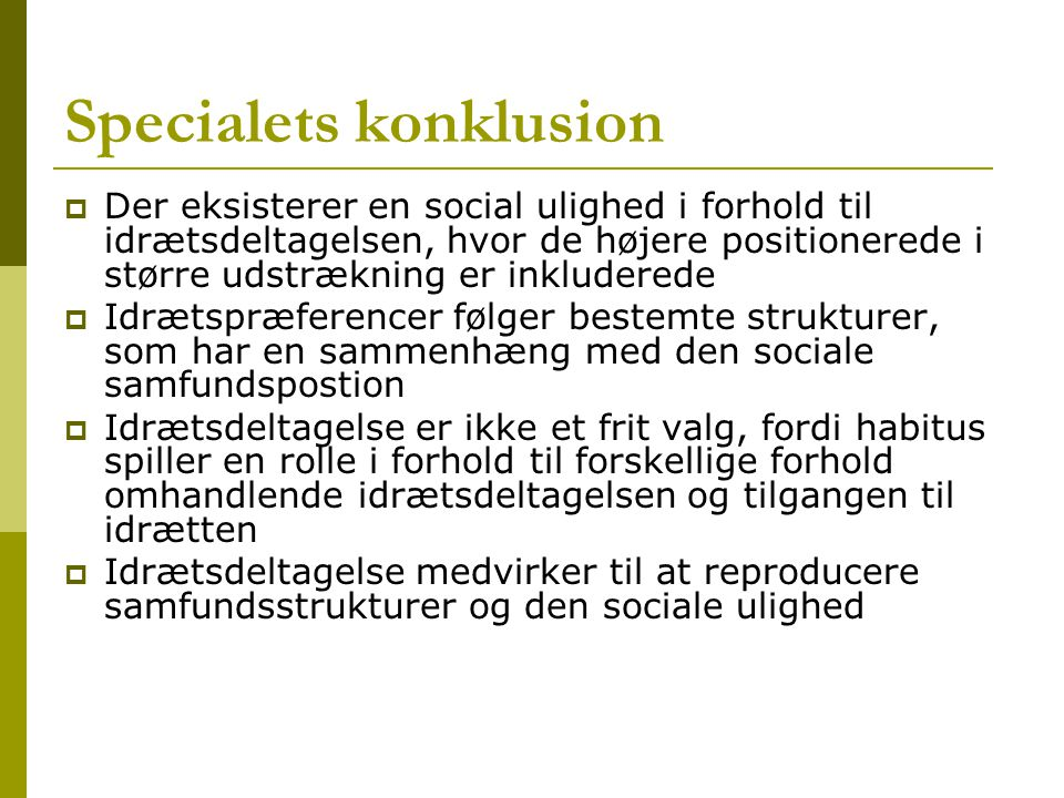 Specialets konklusion