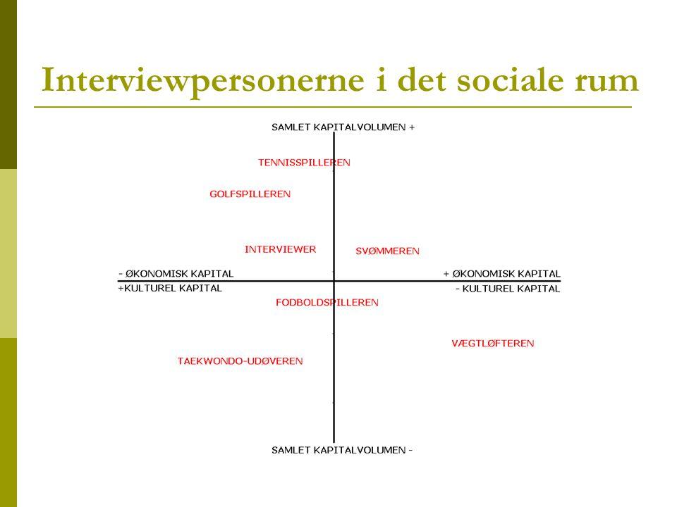 Interviewpersonerne i det sociale rum